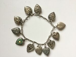 Vintage Sterling Puffy Heart 12 Charm Bracelet enamel shamrock forget me not