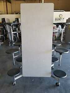Refurbished Lunch Cafeteria Table Grey Top w12 Black Stools -12 ft -Adult Size