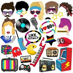80s Photo Booth Props, 80s Party Supplies Decorations for Birthday Party - 38pcs