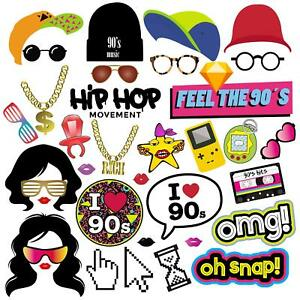 90s Photo Booth Props, 90s Party Supplies Decorations for Hip Hop Party - 36pcs