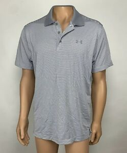 Under Armour Golf Heat Gear Polo Shirt Men's Size Large Gray Striped Loose NWT