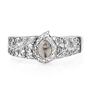 Women's Girls 925 Sterling Silver Pear Dendritic Opal Cuff 7.25
