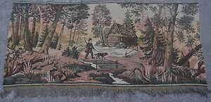 2'1 x 4'6 Vintage French Beautiful Nomadic Village Scene Tapestry Wall Hanging