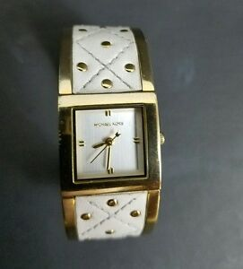 Michael Kors White Leather Bracelet Studded Watch Stainless Steel