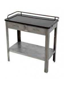 20TH C BRUSHED METAL HOSPITAL ROOM SIDE TABLE WITH DRAWERS + BLACK ENAMELED TOP
