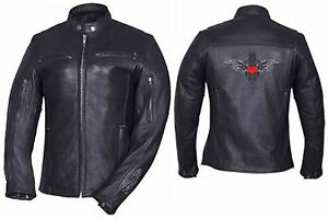 Ladies Leather Motorcycle Jacket Red Tribal Heart 6546.01 Unik Jackets