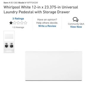 Whirlpool White 12in X 23.375 Universal Laundry Pedestal WStorage