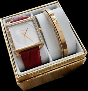 Michael Kors Lake Gift Set Gold & Red Leather Watch & Bracelet MK3829 NWT $350