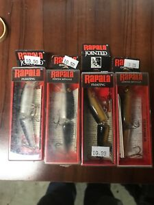 LOT OF 4 Rapala J-9 G & S Floating Jointed Crankbaits FINLAND Fishing Lures