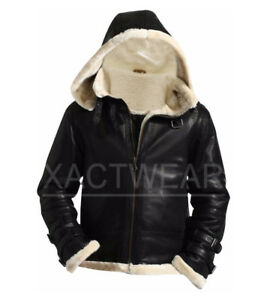 Men's Stylish B3 Bomber Full Fur Removable Hood Genuine Leather Jacket ALL SIZES