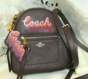 COACH NWT Leather 2pc SET Andi Backpack + Pink Glitter LOGO Keychain FOB Charm