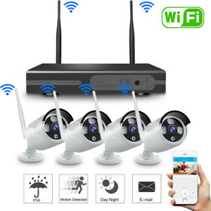 Wireless 4CH 1080P NVR Outdoor IR Night Vision WiFi Camera Home Security System