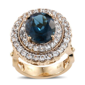 Silver Yellow Gold Plated Blue Topaz Topaz Cocktail Ring Size 7 Cttw 6.6 -ST