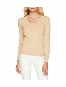 Gant Women's Stretch Cotton Cable V-Neck Long Sleeve Jumper .