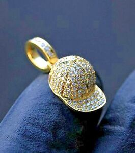 3.14CT NATURAL ROUND DIAMOND 14K SOLID YELLOW GOLD WEDDING CAP MEN PENDANT