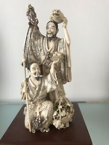 Antique Japanese Signed Carved Sculpture By Kaigyo  Kudo Circa 1890