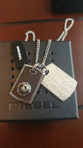 DIESEL Men's Stainless Steel Double Dog Tag Necklace Silver Black DX0818040 +BOX