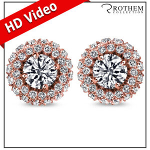 Valentines Women 2.81 CT SI1 Round Halo Diamond Earrings Rose Gold 48984347