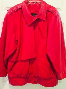RED LEATHER LAMBSKIN JACKET- LADIES SIZE L