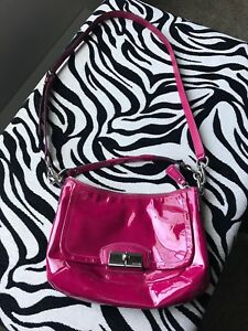 Coach Pink Magenta Patent Leather Kristin Crossbody Handbag