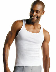 Hanes Tank Undershirt 10-Pack Value A-Shirt Men's ComfortSoft Tag-free Ribbed