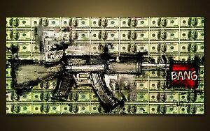 GUN ART - RIFLE - MONEY - DOLLARS - Benjamings - Modern ART by SLAZO