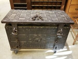 Armada Chest 17 Century German Iron Europe Metal Large Trunk Strong box Antique