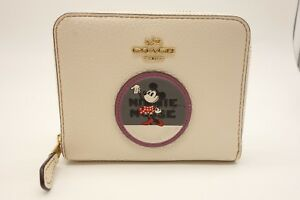 NEW COACH Minnie Mouse Wallet Women's White Leather Zip Around 37546B $125