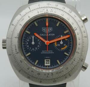 Heuer Calculator Vintage Automatic Chronograph Stainless Steel Blue Dial 45mm