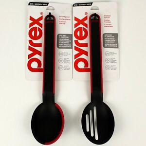 Set of 2 - Pyrex Solid & Slotted Multi-Use Spoon Cooking Utensil wSilicone Edge