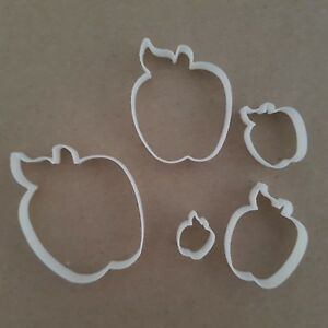 Apple Fondant Cutters - Set Of 5 Fruit Autumn Shape Mini Small Sugarcraft Icing