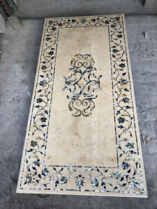 6'x3' Yellowish Marble Dining Top Table Seashell Inlay Design Hallway Decor E863