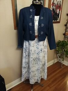 2pc set Black Blue White Dress Jessica Howard plus Size 18W 20 Travel City Print