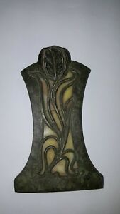 Antique Arts & Craft Desk Paper Clip Bronze Verde Art Nouveau Stained Glass