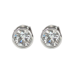 Bezel Set Round Brilliant Diamond Stud Earrings 1.50 Carats Total Weight SI1-H