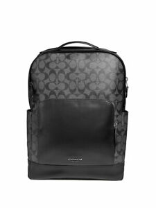 BRAND NEW MEN'S COACH (F38755) GRAHAM SIGNATURE PVC LEATHER BLACK BACKPACK BAG
