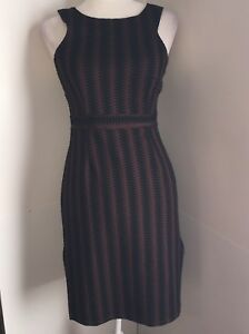 Maeve  Black & Brown Sleeveless Dress Size Small Zig Zag Design