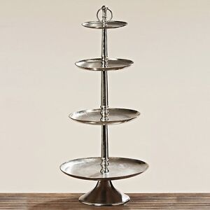 XXL Etagere 46 18in Height 4 Tiers Silver Coloured Metal Tier Pastry Tray New