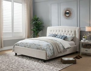 Queen Size Bed Fully slated platform Bed Beige Crocodile Pattern Fabric Bedroom