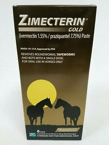 Zimecterin Gold Paste Horse Wormer 6-Pack Oral Syringes 082020