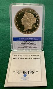 1849 Liberty Head Double Eagle Archival Edition Coin Replica Collection 24k Gold