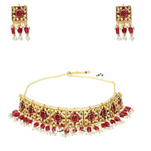 Maroon Red Pearl Choker Necklace Set for Women from India - Free Worldwide Sh...