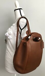 COACH Women's Brown Cowhide Leather Drawstring Bucket Backpack #9994 SUPER RARE