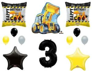 3rd BIRTHDAY CONSTRUCTION Balloons Decoration Supplies Party Boy Dump Truck...