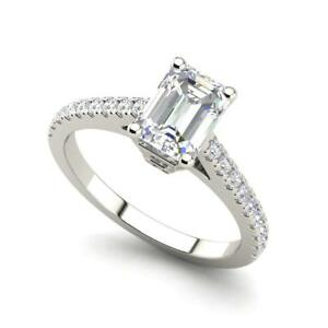 Classic Pave 2.2 Carat VS2D Emerald Cut Diamond Engagement Ring White Gold