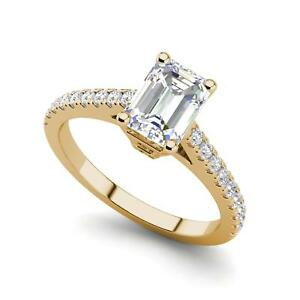 Classic Pave 2.2 Carat VS2D Emerald Cut Diamond Engagement Ring Yellow Gold