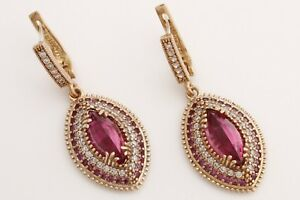 Turkish Jewelry Marquise Cut Pink Ruby Topaz 925 Sterling Silver Dangle Earrings