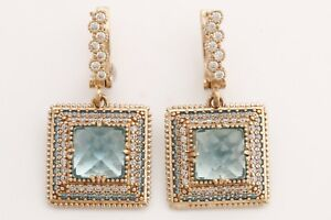Turkish Jewelry Square Shape London Blue Topaz 925 Sterling Silver Earrings