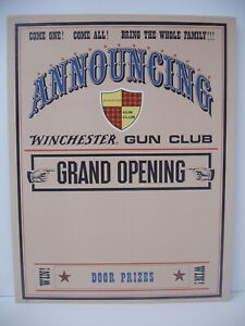 Rare Early Original Winchester announcing Gun Club open cardboard display sign