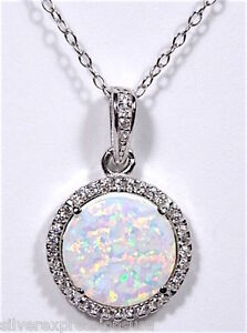 White Topaz & White Fire Opal Inlay 925 Sterling Silver Pendant Necklace 18''